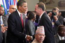 US President Barack Obama, left, with New Zealand Prime Minister John Key at a United Nations lunch in 2009. Photo / NZPA File 