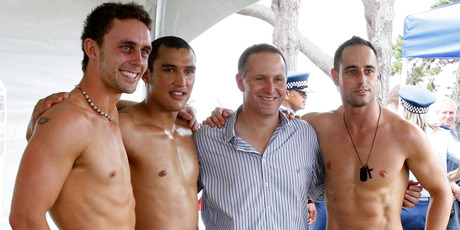 John Key shows his support during the Big Gay Out in Auckland in 2010 and MP Kevin Hague (left). Photo / NZPA