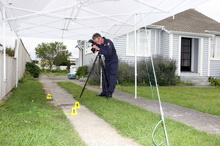 Senior constable Bob Hooker at the scene of the assault that landed fireman Peter Fisher in ICU. Photo / Lynda Feringa