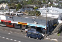 Four shops comprise this retail block in Milford.