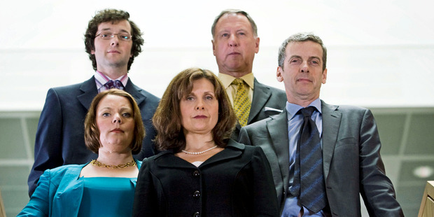 Rebecca Front (centre) and Peter Capaldi (front right) square off in The Thick of It. Photo / Supplied