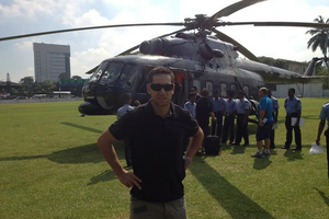 Earlier this week Ross Taylor was in hospital for gastroenteritis, now he's travelled to New Zealand's latest one-day international against Sri Lanka by helicopter. Photo / Ross Taylor