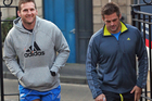 Kieran Read and Richie McCaw of the All Blacks arrive for a gym session at the University of Edinburgh Centre for Sport and Exercise. Photo / Getty Images