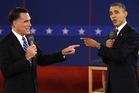 Republican presidential candidate Mitt Romney and President Barack Obama spar during the second presidential debate at Hofstra University in Hempstead, New York. Photo / AP