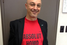 Kevin Hague with his proudly open 'gay red top'. Photo / Audrey Young