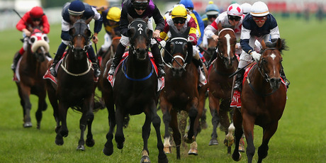 Brett Prebble riding Green Moon (right) crosses the finish line to win the Emirates Melbourne Cup during 2012 Melbourne Cup Day at Flemington Racecourse. Photo / Getty Images
