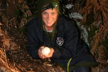 Model and NZ icon Rachel Hunter with a kiwi egg. Photo / Supplied