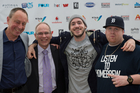 Chris Caddick, Mayor Len Brown, Homebrew frontman Tom Scott and Andy Murnane at the New Zealand Music Awards.