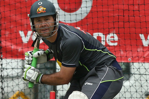Ricky Ponting trains ahead of the first test against South Africa in Brisbane. Photo / Getty Images