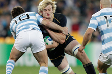Richie Gray playing against Argentina at the 2011 Rugby World Cup. Photo / Mark Mitchell