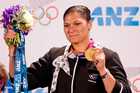 Valerie Adams receives her London Olympics gold medal in Auckland. Photo / Greg Bowker