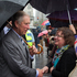Prince Charles chats with royal fans during their short visit to lower Queen Street. Photo / Greg Bowker