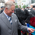 His Royal Highness The Prince of Wales chats with royal fans during their short visit to lower Queen Street. Photo / Greg Bowker