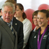His Royal Highness The Prince of Wales greets gold medallist Lisa Carrington at the Millennium Sports Institute. Photo / Greg Bowker