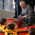 His Royal Highness The Prince of Wales greets young kayak students at the Millennium Sports Institute. Photo / Greg Bowker