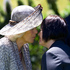 The Duchess of Cornwall hongis with kuia Hiria Hape during the Diamond Jubilee welcome ceremony at Government House in Wellington. Photo / Mark Mitchell