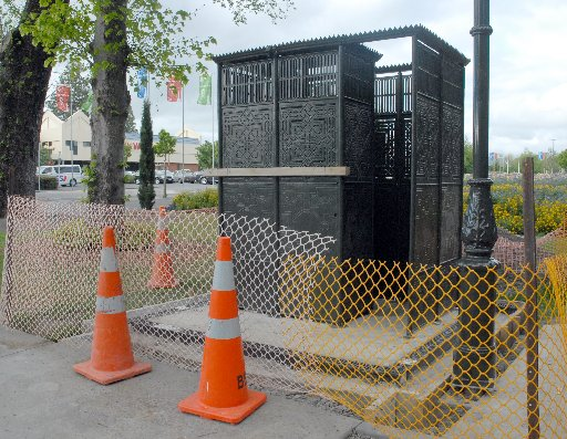 NEARLY THERE: The pissoir at Queen Elizabeth Park is now in place and expected to be operating by next week. Masterton District Council assets and operations manger David Hopman said there was still some work to do on the historic urinal _ such as tiling