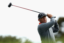 Matthew Guyatt of Australia tees of during day two of the Australia Masters. Photo / Getty Images