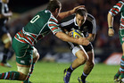 Louis Deacon of Leicester Tigers is tackles Andre Taylor of the Maori All Blacks. Photo / Getty Images.