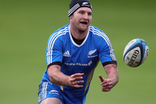 Kieran Read of the All Blacks runs through drills during a training session at Peffermill University. Photo / Getty Images. 