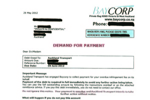 Letters threatening stern action for non-payment are being sent out by debt-collecting agency Baycorp. Photo / Supplied