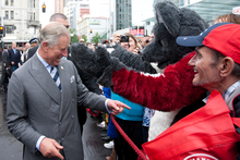 The Prince of Wales chats with royal fans during the short visit to lower Queen Street during the Diamond Jubilee visit. Photo / Greg Bowker