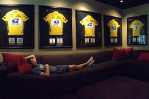 Disgraced cyclist Lance Armstrong posted a picture of himself on Twitter showing him and his yellow jerseys from seven Tour de France wins. Photo / Supplied