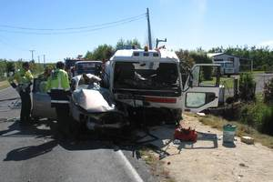 A 20-year-old Havelock North man is in Wellington Hospital ICU with critical head wounds after his Honda Accord and a truck collided. Photo / Supplied