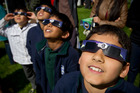 Nine-year-old Pranav Budhwar (right) and classmates were at Auckland's Stardome for the eclipse. Photo / Greg Bowker
