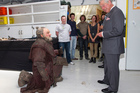 The Prince of Wales meets The Hobbit dwarf Dori, played by Mark Hadlow, during his visit to Weta Workshop in Miramar. Photo / Mark Mitchell
