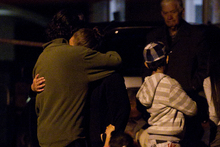 Family mourn at the scene of an accident in Orpheus Place, Papakura, where a 2-year-old boy was hit by a vehicle. Photo / Sarah Ivey