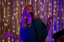 Delta Goodrem singing at The Langham hotel last night. Photo / Sarah Ivey