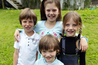 Benjamin, 8, Olivia, 10, Georgia, 6, and Joshua Haskell, 4, all have the advertising X factor. Photo / Doug Sherring