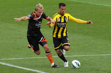 Manny Muscat (right) of the Phoenix during the round three A-League match between the Well
