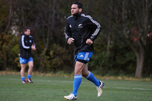 Piri Weepu of the All Blacks warms up during a training session at Peffermill University, Scotland. Photo / Getty Images