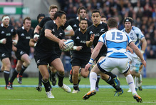 Dan Carter's formidable array of skills asked questions of Scotland's defence during last weekend's test at Murrayfield. Photo / Getty Images