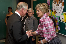 Prince Charles meets Dame Kiri Te Kanawa during a Diamond Jubilee Trust reception and dinner at Auckland's SkyCity Convention Centre yesterday. Photo / Getty Images