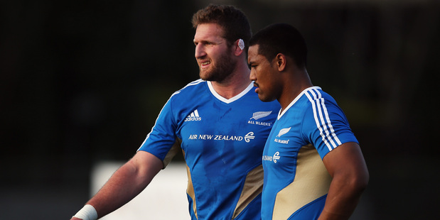 Loading Kieran Read gives instructions to Julian Savea during a training session before the Italy test. Photo / Getty Images