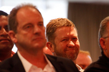 David Shearer, front, may face a leadership challenge from David Cunliffe if he loses caucus support. Photo / Michael Craig