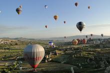 Hot air balloons over Goreme in Cappadocia. Photo / Adam Jones