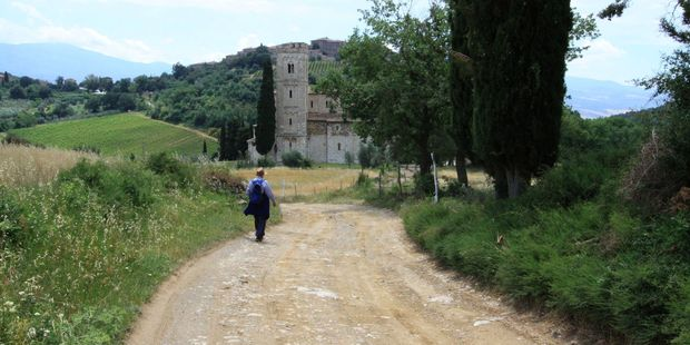 The scenic - but not very well marked - trail ends at the spectacular St Antimo Abbey. Photo / Jim Eagles