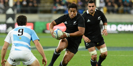 Julian Savea during the Rugby Championship test match, New Zealand All Blacks versus Argentina Pumas. Photo / Andrew Cornaga