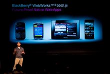 Tim Neil, from Research In Motion, speaks about the Blackberry 10 architecture on June 21, 2012. Photo / AP