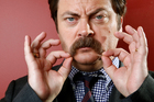 Nick Offerman boasts one of the most impressive moustaches.Photo / AP