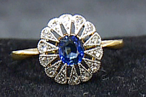 A diamond and sapphire ring recovered from the Titanic.Photo / AP