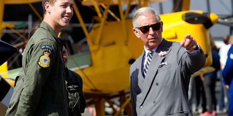 Prince Charles speaks to a Royal New Zealand Air Force staff member during a visit to RNZAF Base Ohakea today. Photo / Getty Images