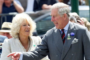 Britain's Prince Charles and his wife Camilla arrive for a welcome at the Christchurch City Council building. Photo / AP