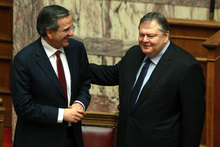 Greece's Prime Minister Antonis Samaras, left, and socialists leader of the PASOK party Evangelos Venizelos. Photo / AP
