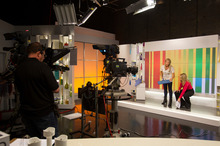 Candy Lane and Lucy Gallaugher on set at the Shopping Channel. Photo / Kellie Blizard