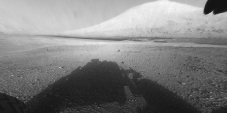 The Curiosity rover takes a photo of its shadow in front of Mount Sharp. Photo / NASA